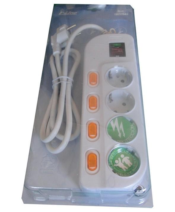 Base red multiple 4 vias con interruptor individual