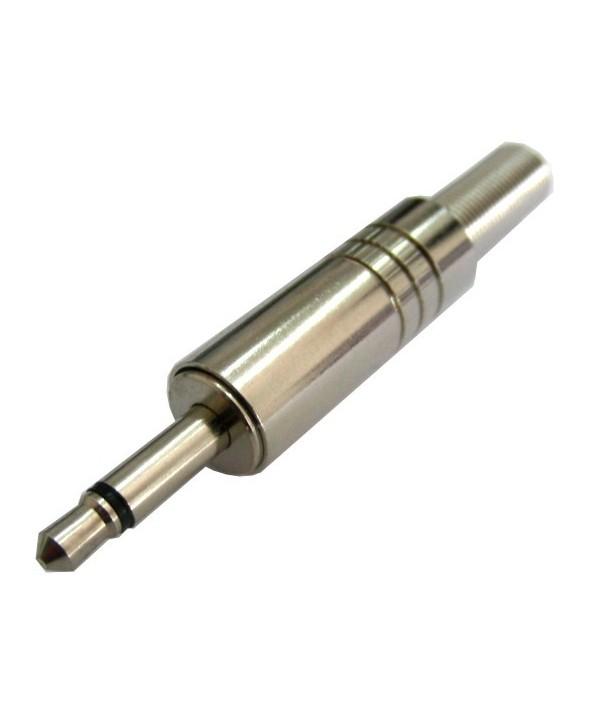 Conector jack 3.5mm macho mono metal plata
