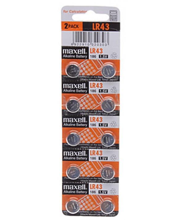 Pila alcalina 186 (lr43) 1.5v maxell blister 10 unidades