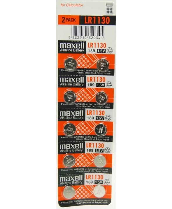 Pila alcalina lr1130 g86 ag10 189 389 maxell blister 10 unidades