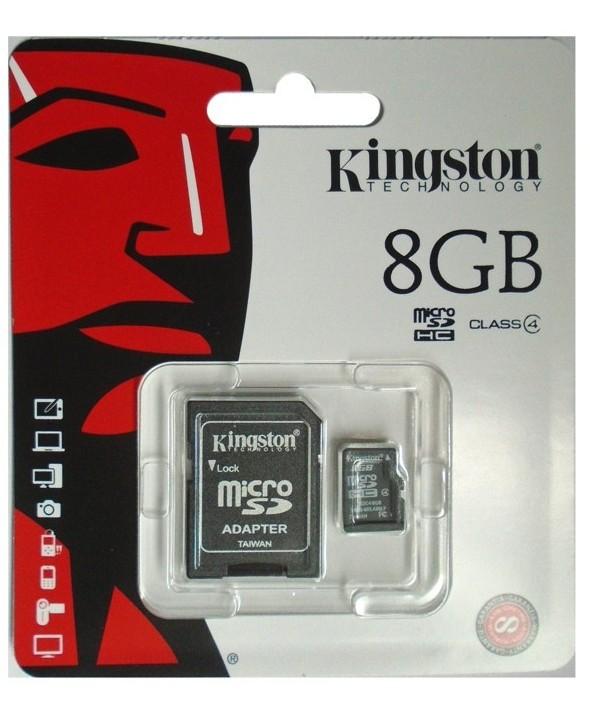 Memoria microsd 8 gb + adaptador kingston