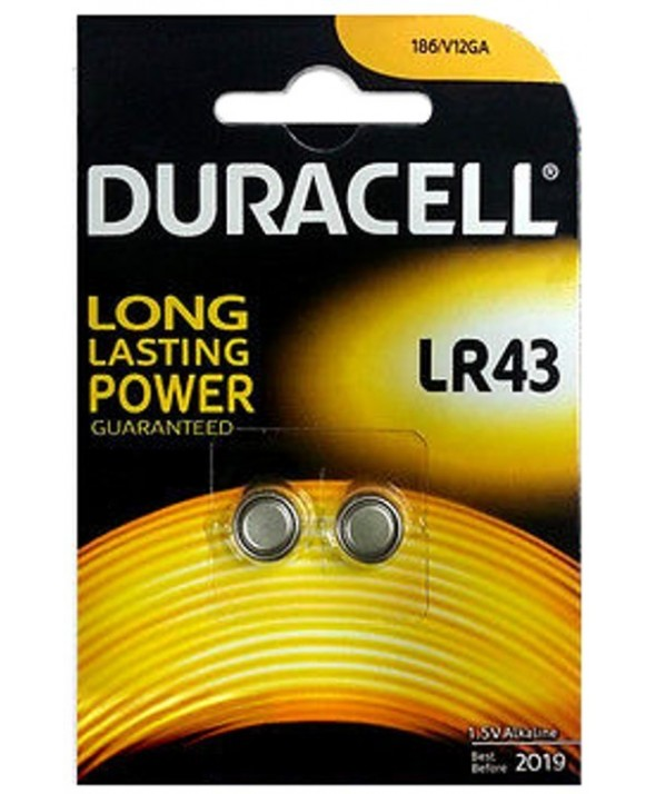 Pila alcalina lr43 1.5v duracell blister de 2
