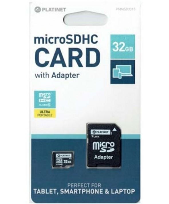 Memoria microsd 32 gb class10 + adaptador sd platinet