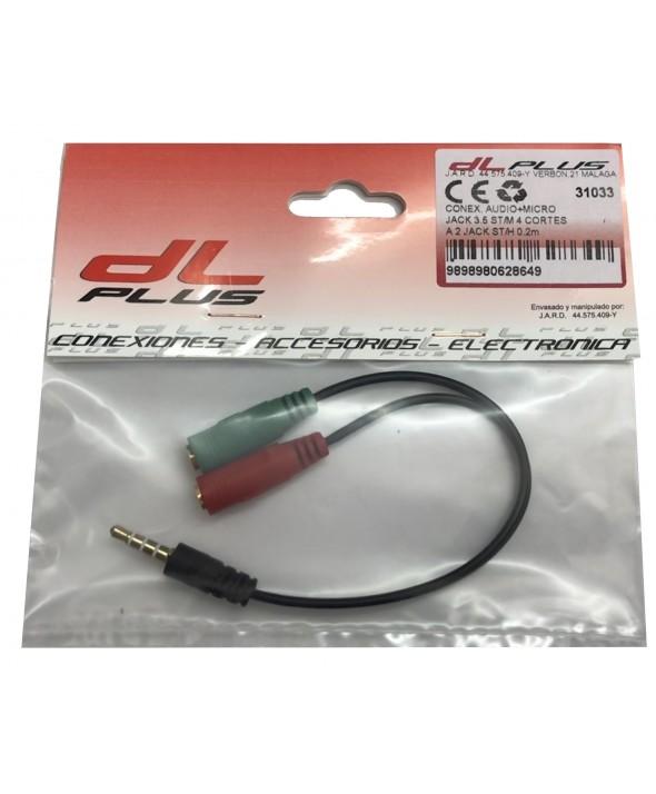 Conexion audio + micro jack 3.5 st/m a 2 st/h 0.2m