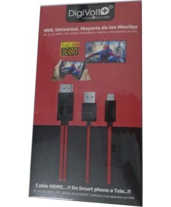 Conexion micro usb(2.0) a hdmi hd cable 1.8m