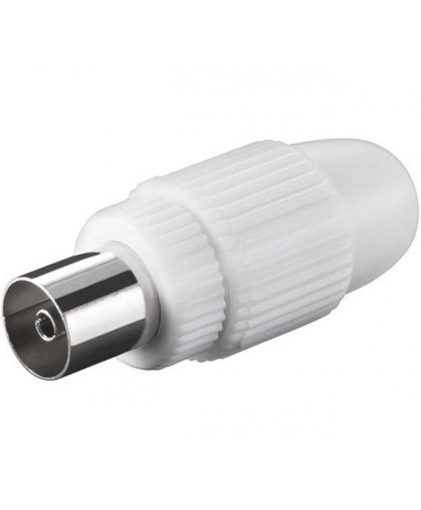 Conector tv pal 9.5 mm recto hembra blanco