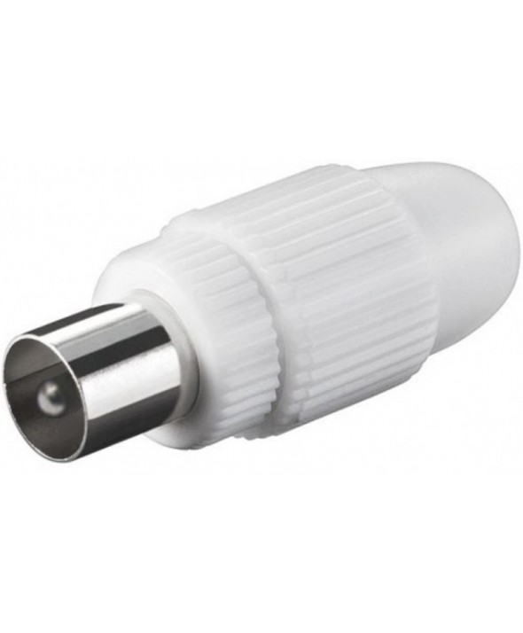Conector tv pal 9.5 mm recto macho blanco