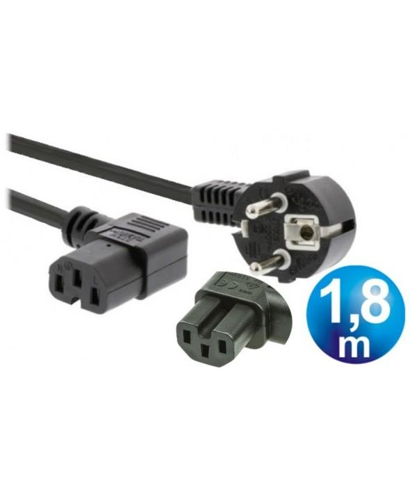Cable alimentacion red c15 con mueca acodado 1.8 m