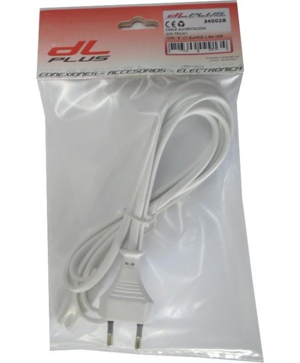 "Cable alimentacion 2 x 0.75mm² tipo ""8"" c7 blanco 1.8m"
