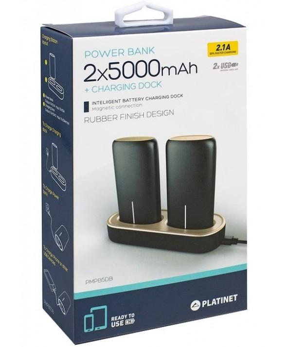 Bateria universal usb 2x5000 mah platinet negra