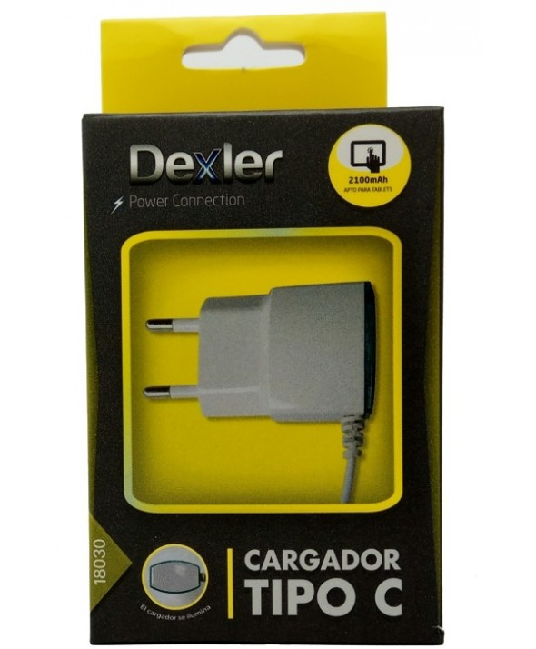 "Cargador red usb 2.1 a tipo ""c"" cable 1 m"