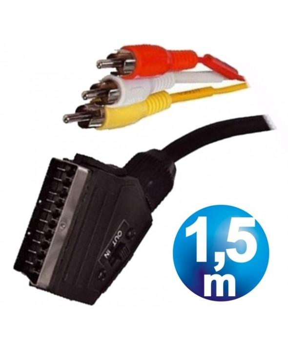 Conexion euro 3 rca m aud/vid in-out con interruptor 1.5m
