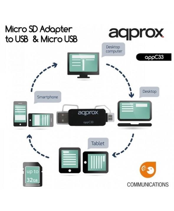 Adaptador de sd/micro sd a usb y micro usb approx