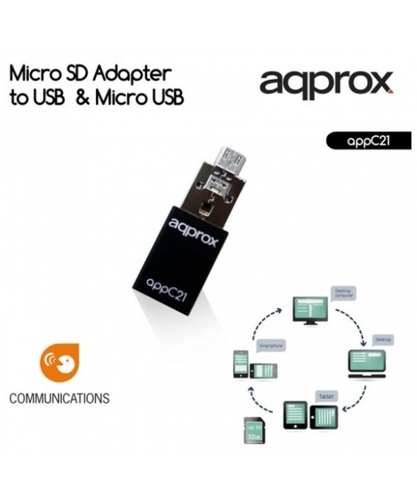 Lector usb/micro sd tarjeta microsd+otg approx c21