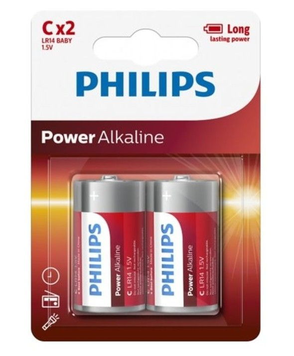 Pila alcalina lr14 philips power alkaline blister 2 unidades