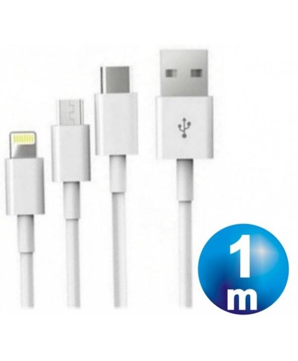Conexion alimentacion 3 en 1 micro usb-iphone-tipo c