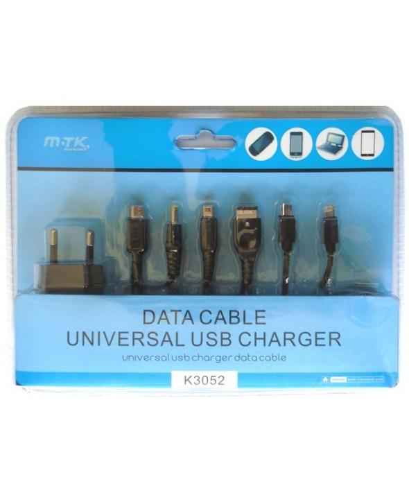 Kit 6 en 1 cargador universal usb y cable datos mtk
