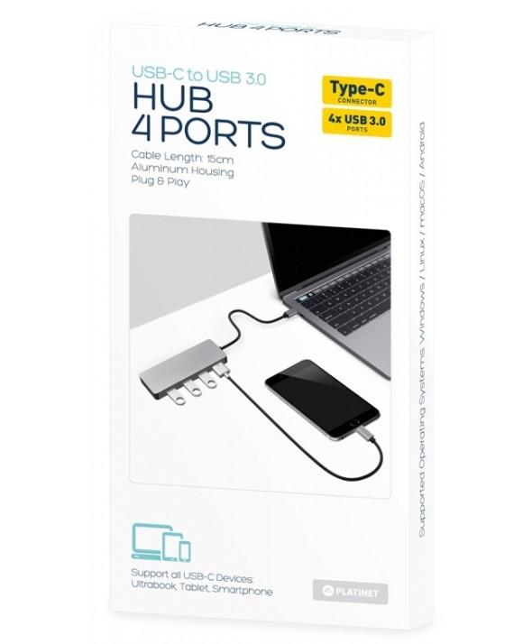 "Hub 4 puertos tipo ""c"" a usb 3.0 aluminio platinet"