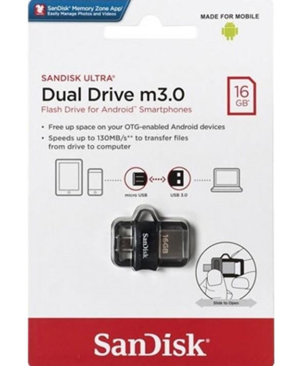Pen driver 16 gb dual driver m3.0 130 mb/s sandisk