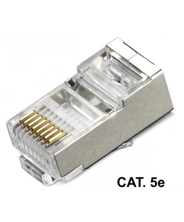 Conector telefonico rj45 8p8c cat.5e blindado para cable rigido