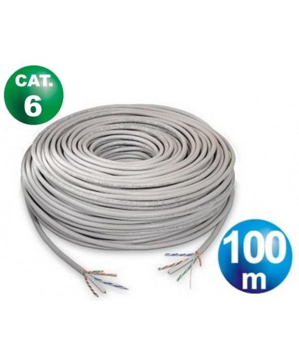 Rollo 100 m cable telefonico cat.6 utp rigido