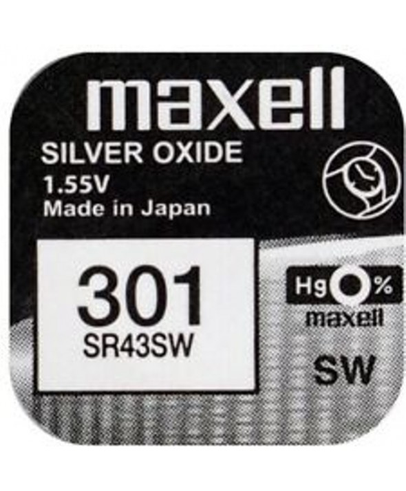 Pila ox de plata 1.55v (sr43sw) 301 maxell