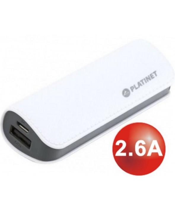 Bateria universal usb 2600 mah platinet cuero blanco