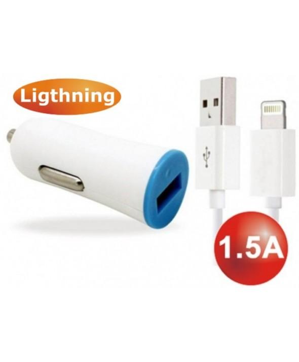 Cargador mechero usb 1.5a+conexion lightning 1 m