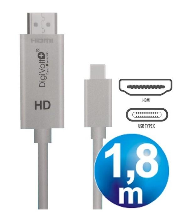 """Conexion mhl hdmi hd para tipo""""c"""" 1.5m cable"""