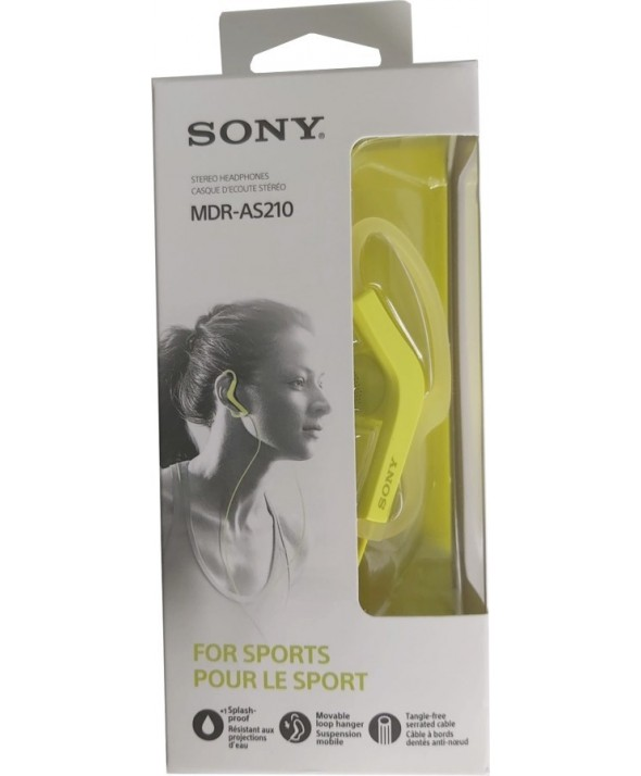 Auricular deportivo sony mdr-as210 amarillo
