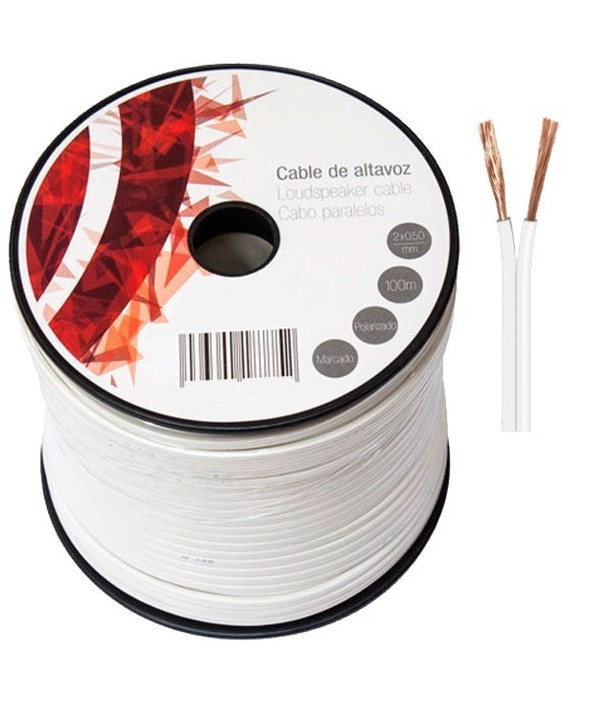 Rollo 100 m cable paralelo 2x050 mm blanco