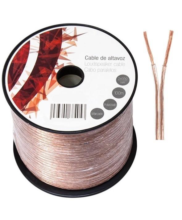 Rollo 100 m cable paralelo 2x0.5 mm transparente
