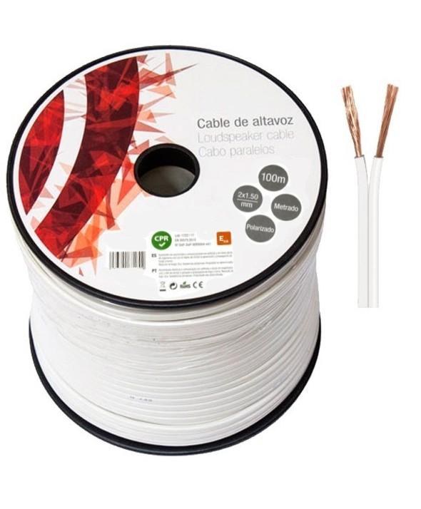 Rollo 100m cable blanco poralizado 2x1.5mm