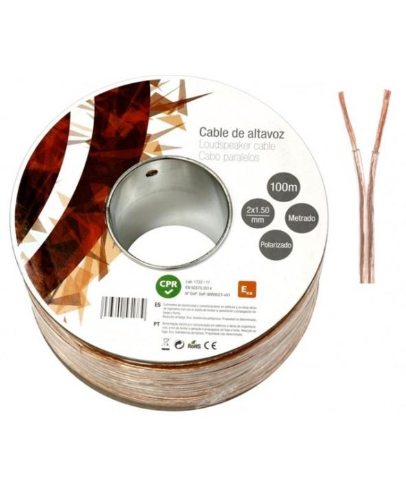 Rollo 100 m cable paralelo 2x1 mm transparente