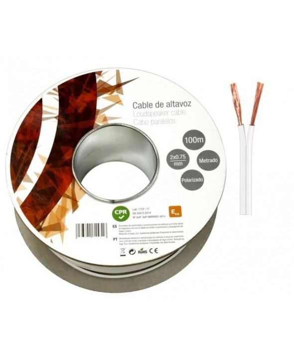 Rollo 100 m cable altavoz paralelo 2x075 mm blanco