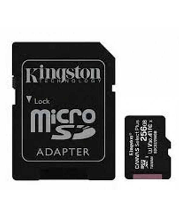 Memoria microsd 256gb class10 100mbs + adaptador sd kingston