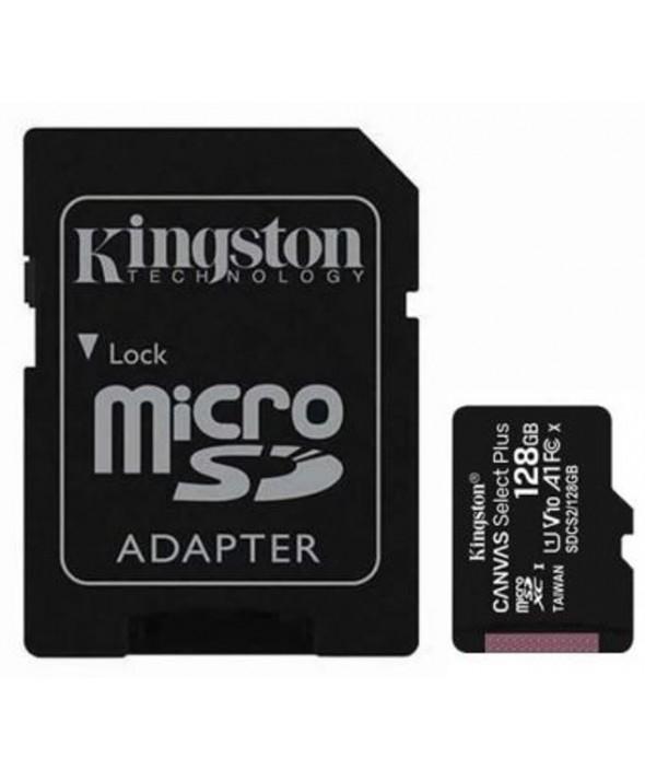 Memoria microsd 128gb class10 100mbs + adaptador sd kingston