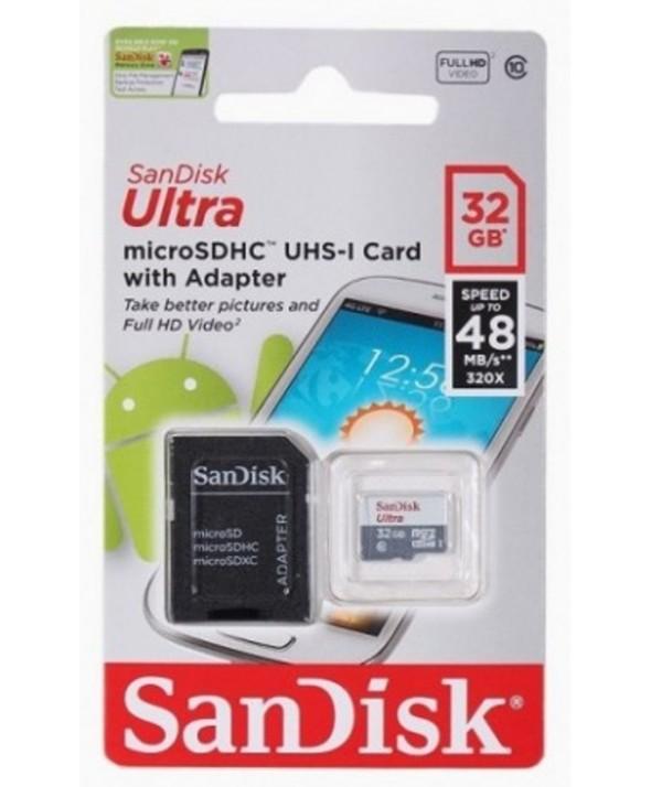 Memoria microsdhd 32gb cl10 80r + adaptador sd sandisk