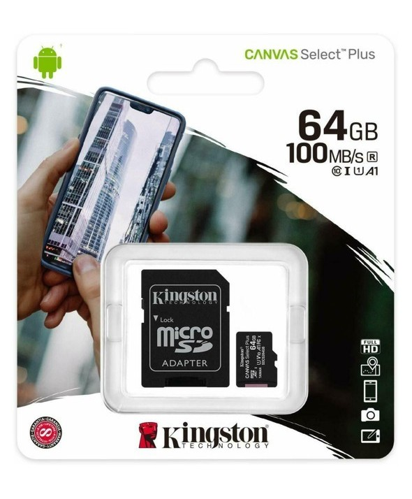 Memoria microsdxc 64gb cl10 100r + adaptador sd kington
