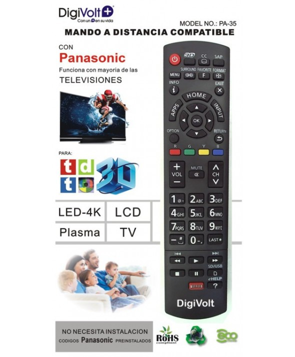Mando a distancia compatible panasonic