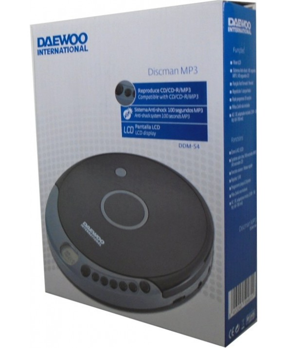Discman mp3 cd/cd-r anti-shock 100 segundos daewoo