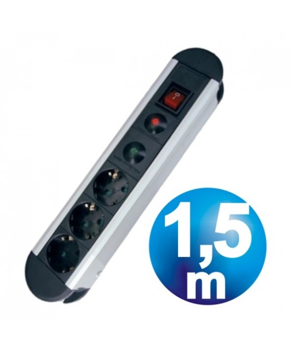 Base red multiple 3 vias con proteccion + interruptor y cable 1.5m