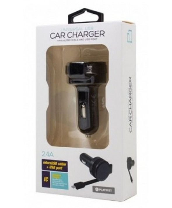 Cargador mechero micro usb retractil 2.4a platinet