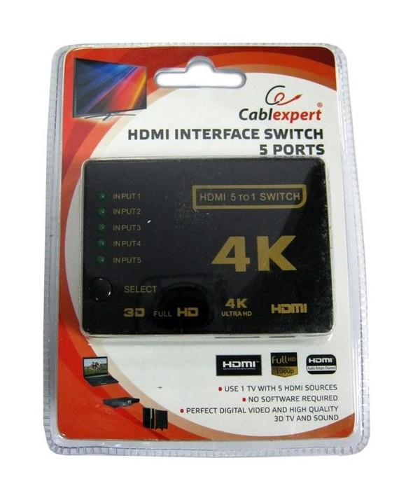 Mini switch hdmi 5 entradas 1 salida + mando a distancia 4k