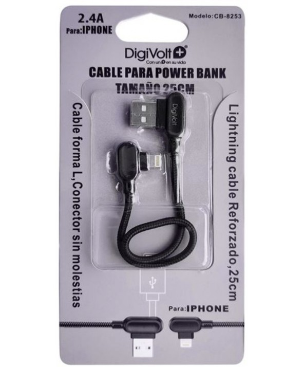 Conexion alimentacion iphone 25cm power bank