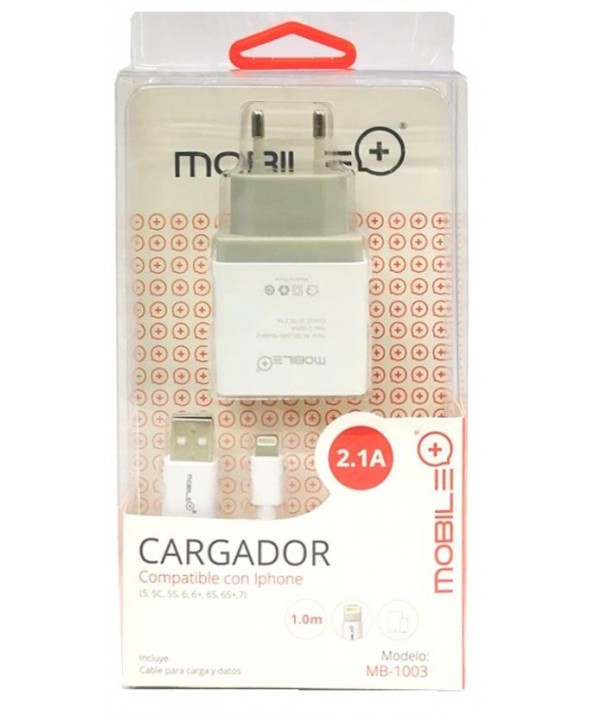 Kit carg.red usb (2.1a) + conexion iphone 1m mb-1003