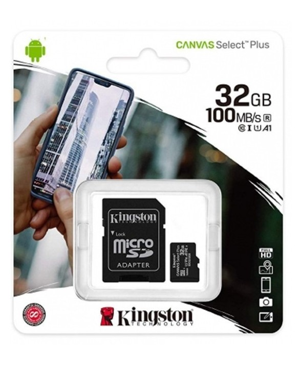 Memoria microsdhd 32gb 100mb/s+adaptador sd kingston
