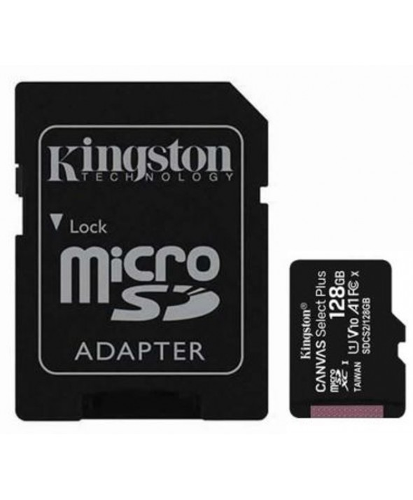 Memoria microsd 128gb class10 100mbs + adaptador sd kingston
