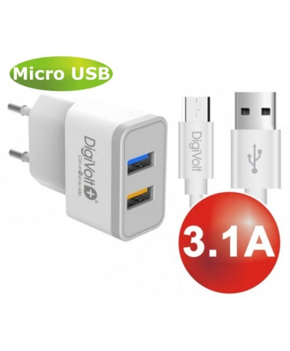 Kit cargador red usb (3.1a max) + conexion micro usb